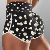 lovely Sportswear Floral Print Black Shorts
