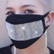lovely Rhinestone Decorative Silver Face Mask