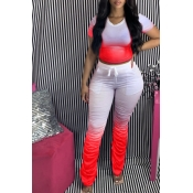 lovely Casual Gradual Change Red Two Piece Pants Set