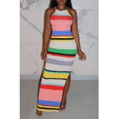 Lovely Casual Striped Multicolor Ankle Length Dres