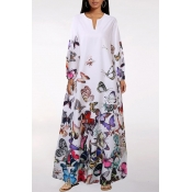 lovely Casual V Neck Butterfly Print White Ankle L