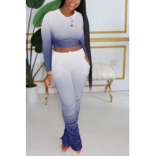 lovely Casual Gradual Change Fold Design Blue Two