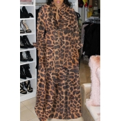 lovely Casual Leopard Print Brown Maxi Dress