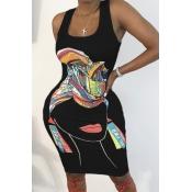lovely Leisure U Neck Print Black Knee Length Dress
