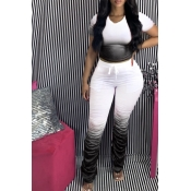 lovely Casual Gradual Change Black Two Piece Pants