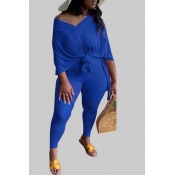 lovely Leisure V Neck Basic Blue Plus Size Two-piece Pants Set