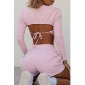 lovely Trendy Backless Pink Loungewear