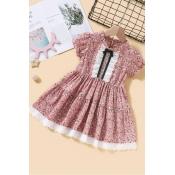 lovely Sweet Floral Print Pink Girl Mini Dress