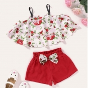 lovely Sweet Plants Print Red Girl Two-piece Short