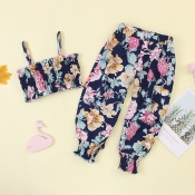 lovely Bohemian Plants Print Dark Blue Girl Two-piece Pants Set
