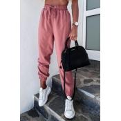 lovely Sportswear Lace-up Pink Pants