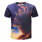 lovely Casual O Neck Print Blue T-shirt