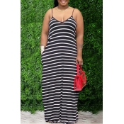 Lovely Casual Striped Black Maxi Dress
