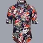 Lovely Men Bohemian Turndown Collar Plants Print D
