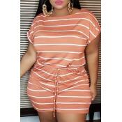 Lovely Leisure O Neck Striped Orange Plus Size One