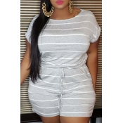 lovely Leisure O Neck Striped Grey Plus Size One-p