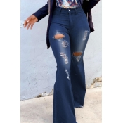 lovely Stylish Hollow-out Flared Deep Blue Jeans