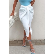 lovely Stylish Knot Design White Skirt