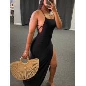 lovely Sexy Side High SlitBlack Maxi Dress