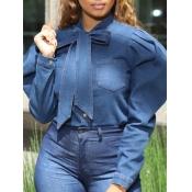 lovely Sweet Lace-up Fold Design Blue DenimBlouse