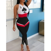 lovely Casual Print Patchwork Black One-piece Jump