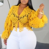 lovely Stylish Hollow-out Yellow Blouse
