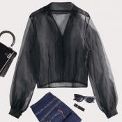 lovely Trendy See-through Black Blouse