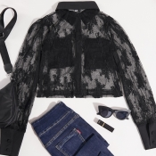 lovely Trendy Patchwork See-throughBlack Blouse