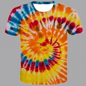lovely Street O Neck Tie-dye Orange T-shirt