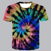 lovely Street O Neck Tie-dye Black T-shirt