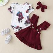 lovely Sweet Print Fold Design Wine Red Girl Two-p