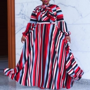 lovely Bohemian Striped Print Red Maxi Plus Size D