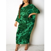 lovely Casual Print Green Ankle Length Plus Size D