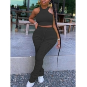 lovely Stylish Fold Design Black Plus Size Two-pie