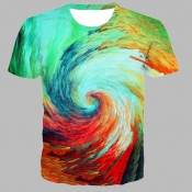 lovely Casual O Neck Tie-dye Green T-shirt