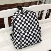lovely Stylish Grid Print Black And White Backpack