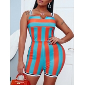 lovely Sexy Striped Patchwork Croci One-piece Romp
