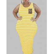 lovely Casual Striped Yellow Maxi Plus Size Dress