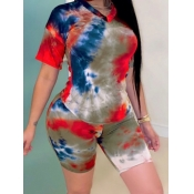 lovely Leisure V Neck Tie Dye Brown Two Piece Shor