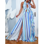 lovely Trendy Striped Print Hollow-out Multicolor