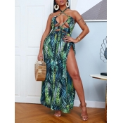 lovely Sexy Plants Print Hollow-out Green Maxi Dre