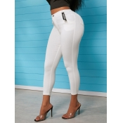 lovely Casual High-waisted Skinny White Jeans