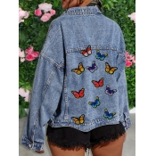 lovely Casual Turndown Collar Butterfly Embroidere