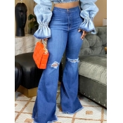 lovely Stylish Hollow-out Deep Blue Plus Size Jean