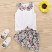 lovely Sweet Floral Print White Girl Two-piece Sho