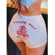 lovely Sportswear Letter Print White Shorts