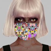 lovely Cartoon Print Multicolor Girl Face Mask