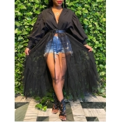 lovely Trendy Patchwork See-through Black Ankle Length Dress