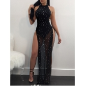 lovely Sexy Backless Side High Slit Black Maxi Dre