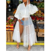 lovely Trendy Patchwork See-through White Ankle Length Dress